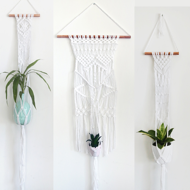macrame hanging plant holders