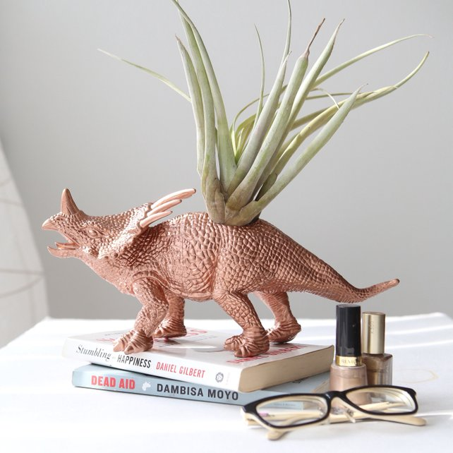 Jumbo copper dinosaur air plant holder by Modern Plant Life