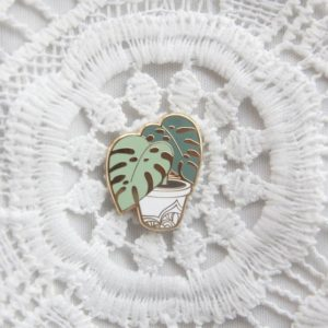 Monstera Deliciosa plant enamel pin by Modern Plant Life