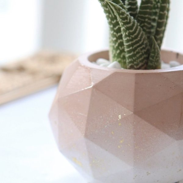 Handmade ombre pink concrete planter by Modern Plant Life