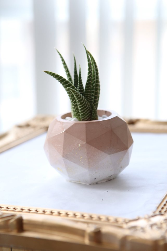 Handmade ombre pink concrete planter by Modern Plant Life in Toronto, Ontario, Canada