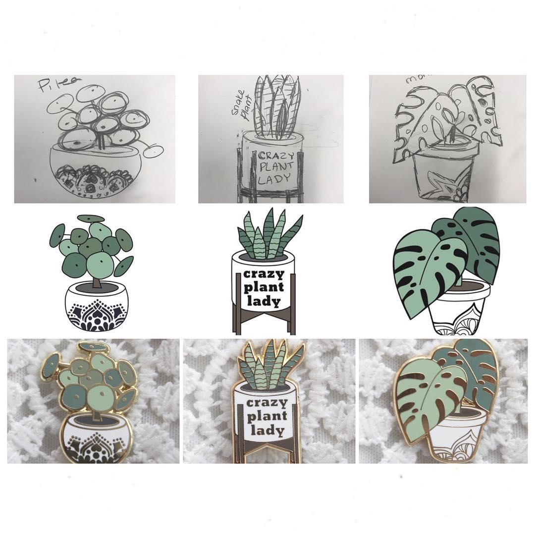 Modern Plant Life Plant Enamel Pins